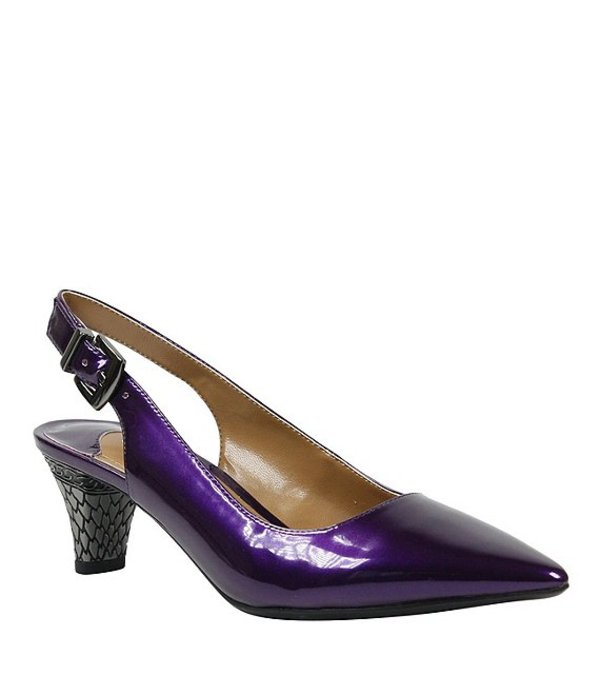 ジェイレニー レディース ヒール シューズ Mayetta Slingback Pearlized Patent Dress Pumps Purple