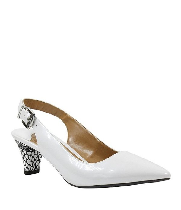 ジェイレニー レディース ヒール シューズ Mayetta Slingback Pearlized Patent Dress Pumps White