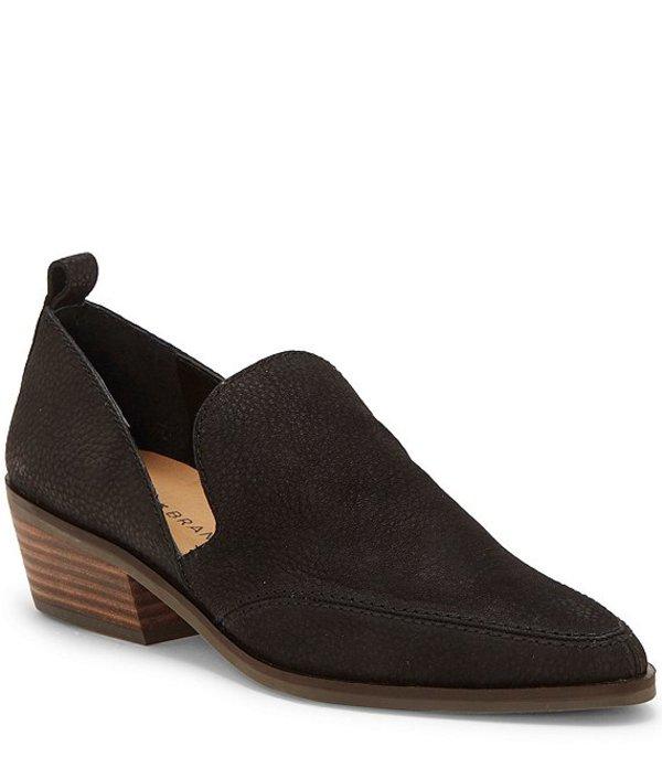 ラッキーブランド レディース スリッポン・ローファー シューズ Mahzan Leather Block Heel Loafers Black