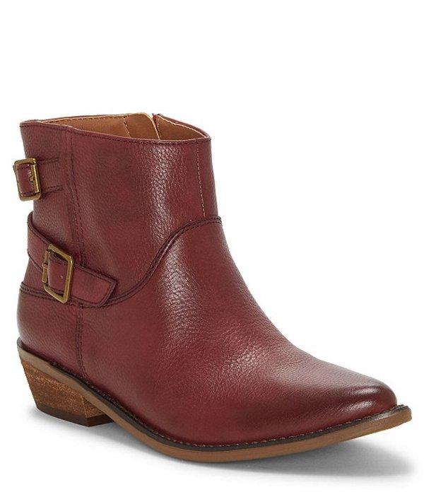 ラッキーブランド レディース ブーツ・レインブーツ シューズ Caelyn Leather Buckle Block Heel Booties Rossa Red