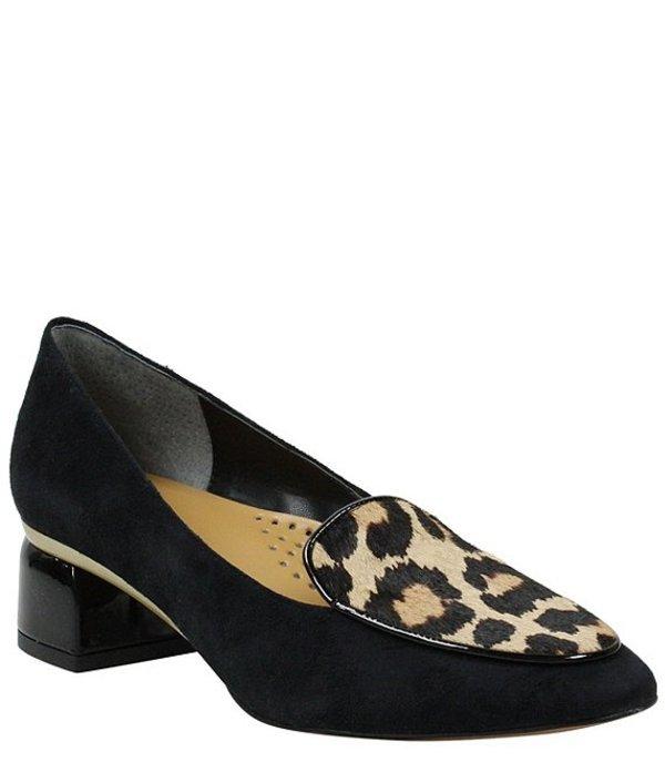 ジェイレニー レディース スリッポン・ローファー シューズ Ballanca Leopard Print Calf Hair Suede Block Heel Loafer Pumps Black/Brown/Black