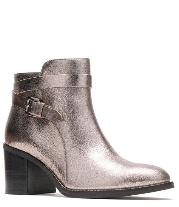 ハッシュパピー レディース ブーツ・レインブーツ シューズ Hannah Strap Boot Leather Block Heel Booties Gunmetal Metallic Leather