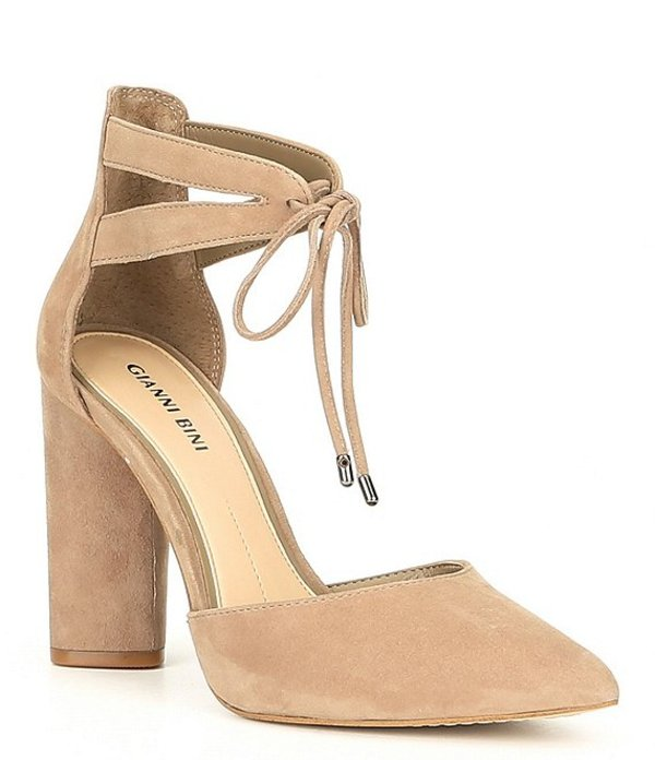 ジャンビニ レディース ヒール シューズ Bealina Suede Ankle-Tie Block Heel Pumps New Taupe
