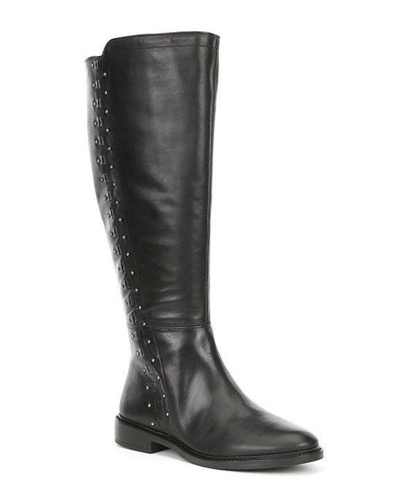 ジャンビニ レディース ブーツ・レインブーツ シューズ Clessina Leather Wide Calf Tall Block Heel Boots Black