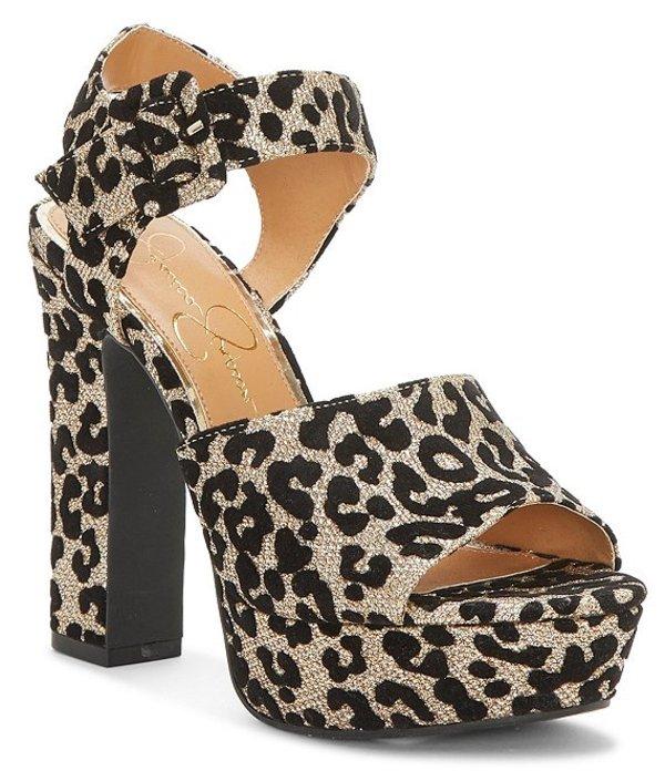 ジェシカシンプソン レディース サンダル シューズ Naenia Metallic Leopard Print Platform Block Heel Sandals Gold Leopard