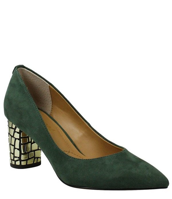 ジェイレニー レディース ヒール シューズ Vaneeta Suede Block Heel Pumps Emerald Green Suede