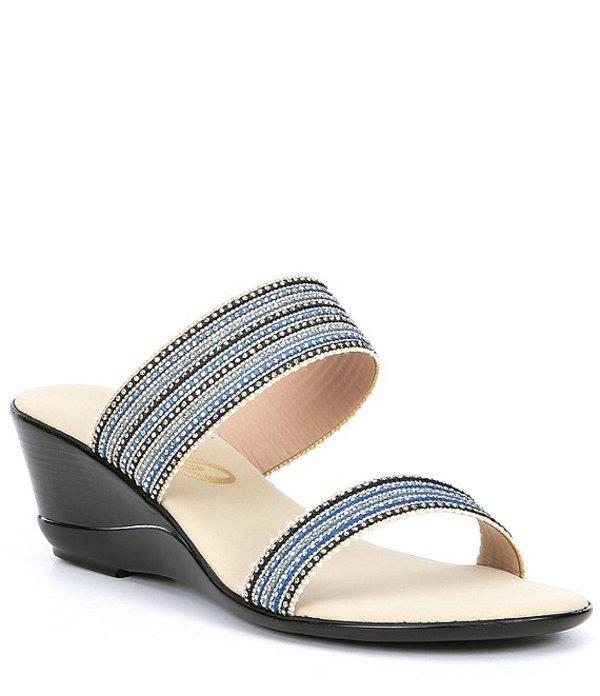オネックス レディース サンダル シューズ Janie Fabric and Stud Slide Wedge Sandals Blue/Multi