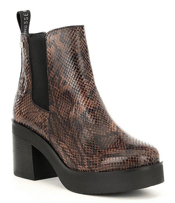 ムッセアンドクラウド レディース ブーツ・レインブーツ シューズ Karan Snake Print Leather Block Heel Chelsea Booties Snake