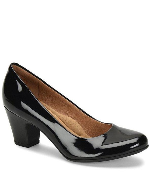 ソフト レディース ヒール シューズ Myka Patent Leather Block Heel Pumps Black Patent