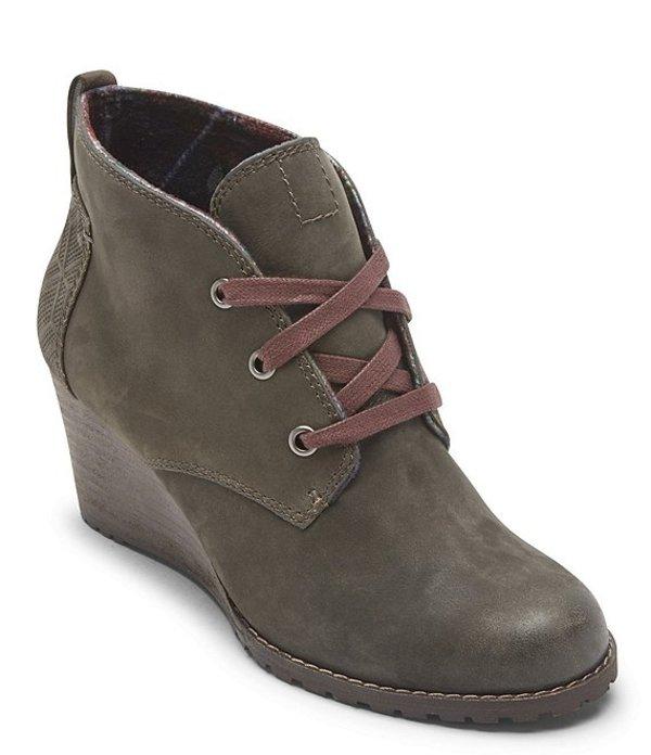 ロックポート レディース ブーツ・レインブーツ シューズ Cobb Hill Lucinda Leather Chukka Wedge Booties Olive