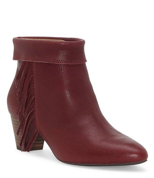 ラッキーブランド レディース ブーツ・レインブーツ シューズ Zakina Leather Cuffed Fringe Block Heel Booties Sugar Red