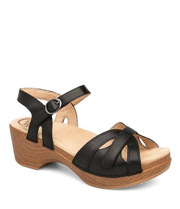 ダンスコ レディース サンダル シューズ Season Leather Buckle Ankle Strap Block Heel Platform Sandals Black
