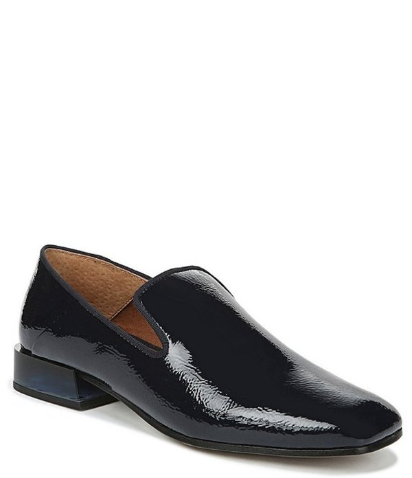 フランコサルト レディース スリッポン・ローファー シューズ Mercy Crinkle Patent Block Heel Loafers Midnight