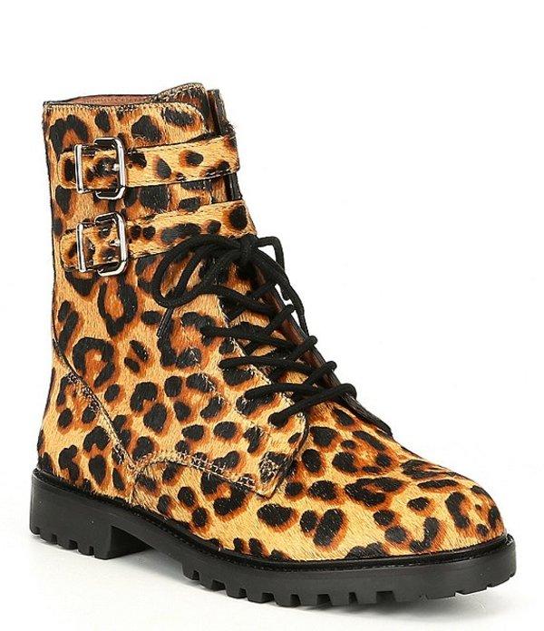 アントニオ メラーニ レディース ブーツ・レインブーツ シューズ Bertilli Leopard Print Calf Hair Combat Booties Tan Multi