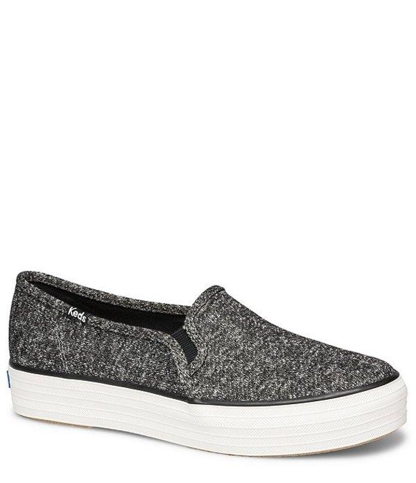 ケッズ レディース スリッポン・ローファー シューズ Triple Decker Sparkle Jersey Platform Slip On Sneakers Black