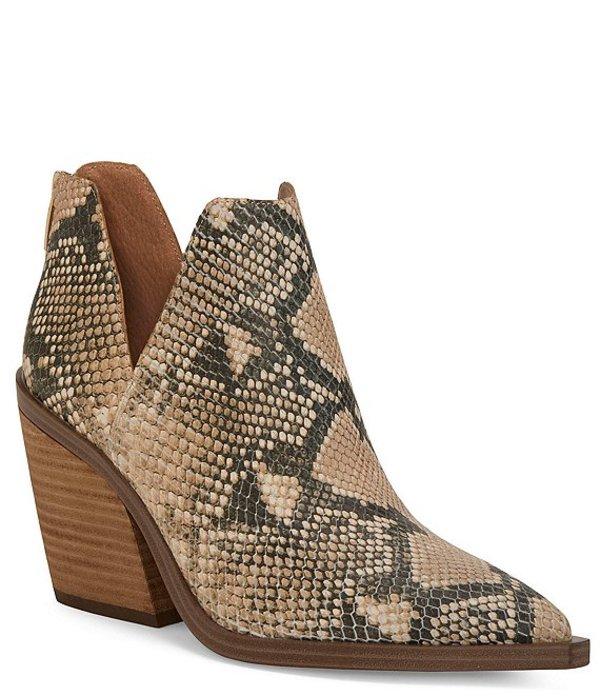 ヴィンスカムート レディース ブーツ・レインブーツ シューズ Gigietta Leather Snake Print Western Block Heel Booties Natural Snake