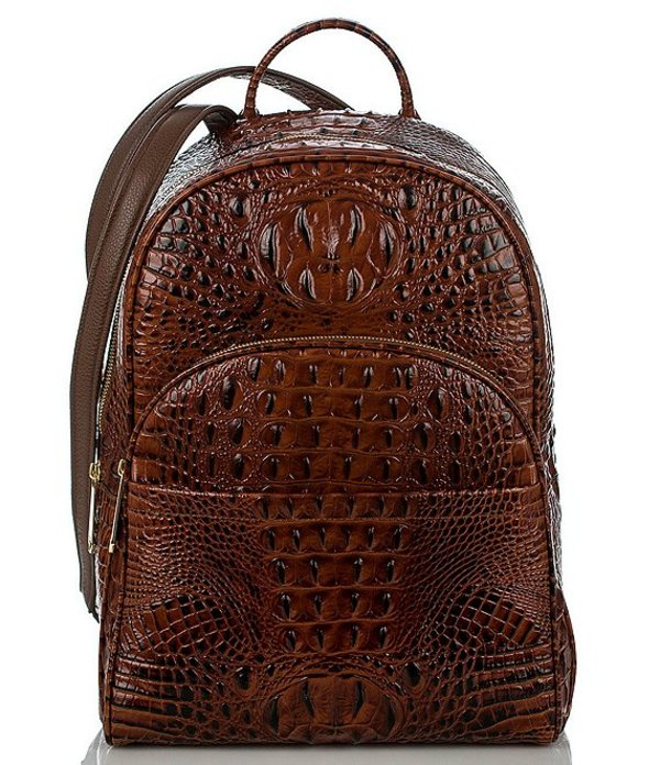 ブランミン レディース バックパック・リュックサック バッグ Melbourne Collection Dartmouth Crocodile-Embossed Backpack Pecan