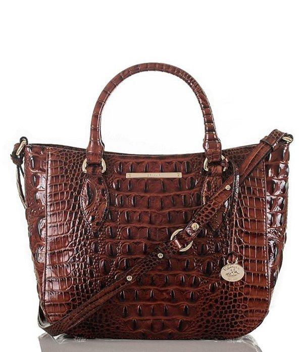 ブランミン レディース ハンドバッグ バッグ Melbourne Collection Small Lena Crocodile-Embossed Satchel Bag Pecan
