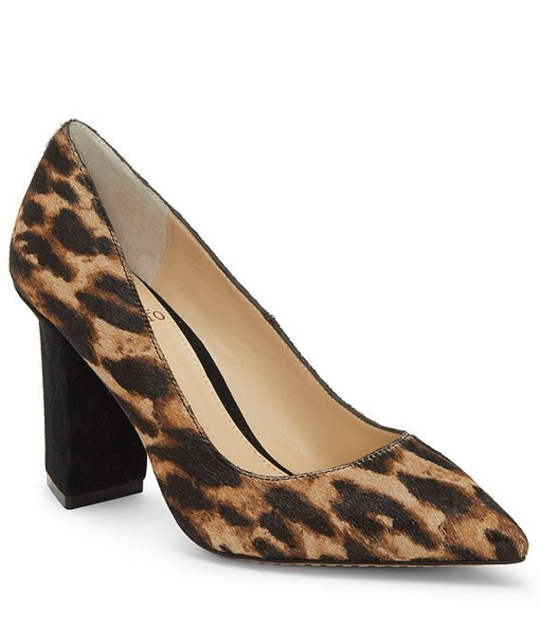 ヴィンスカムート レディース ヒール シューズ Candera 3 Leopard Print Calf Hair Block Heel Pumps Natural/Black