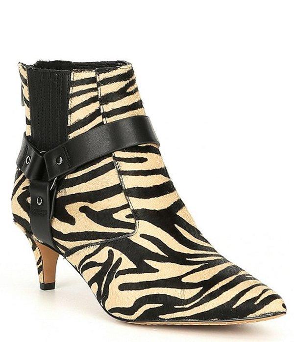 ヴィンスカムート レディース ブーツ・レインブーツ シューズ Merrie Zebra Print Calf Hair Stiletto Booties Tan/Black Black