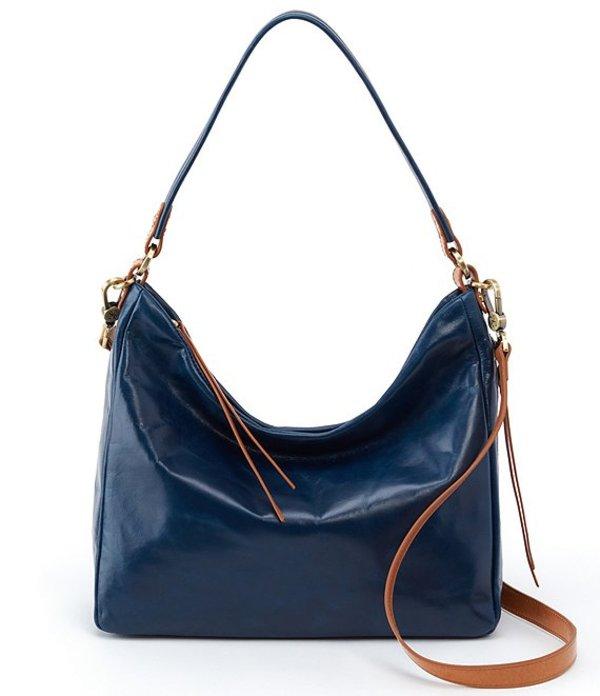 ホボ レディース ショルダーバッグ バッグ Delilah Shiny Leather Hobo Bag Sapphire