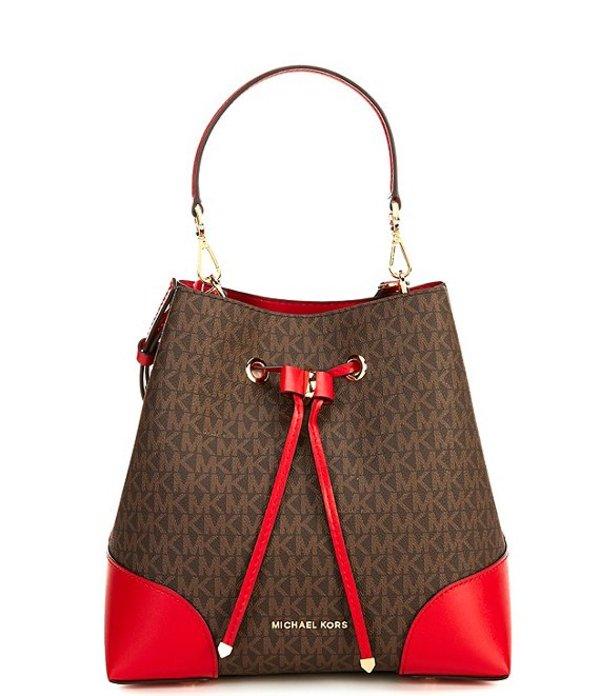 マイケルコース レディース ショルダーバッグ バッグ Signature Mercer Medium Convertible Signature Bucket Shoulder Bag Brown/Bright Red