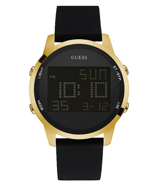 ゲス メンズ 腕時計 アクセサリー Digital Chronograph Silicone Watch black