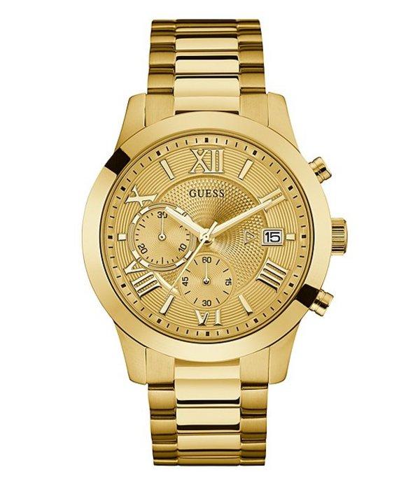 ゲス メンズ 腕時計 アクセサリー Classic Chronograph & Date Bracelet Watch Gold