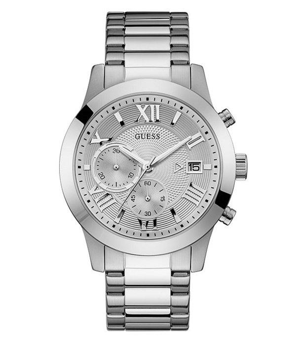 ゲス メンズ 腕時計 アクセサリー Modern Chronograph Watch Silver