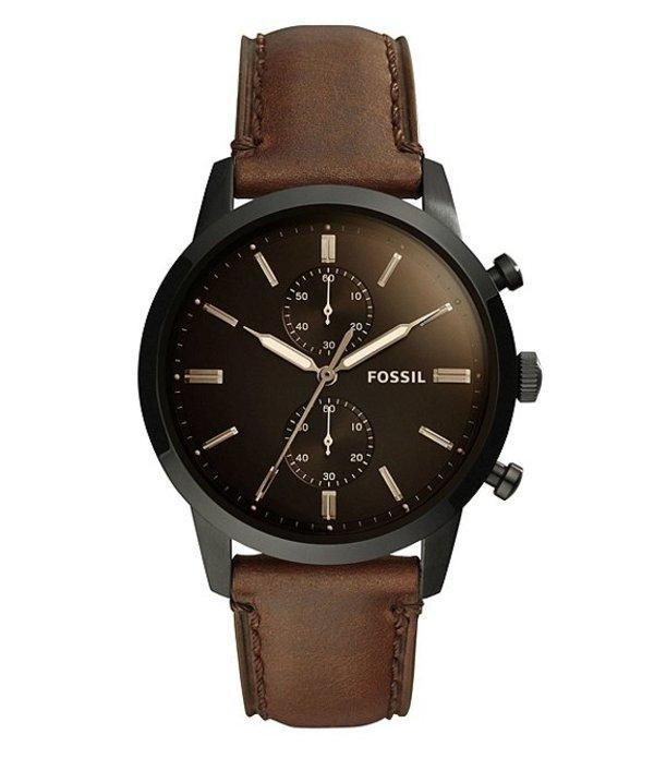 フォッシル メンズ 腕時計 アクセサリー Townsman Chronograph Brown Leather Watch Brown