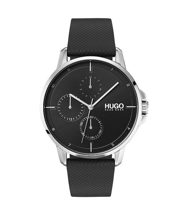 ヒューゴボス メンズ 腕時計 アクセサリー HUGO HUGO BOSS #Focus Black Leather Strap Multifunction Watch Black
