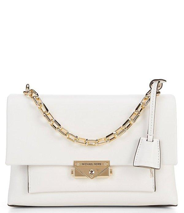 マイケルコース レディース ハンドバッグ バッグ Cece Medium Chain Push Lock Shoulder Bag Optic White