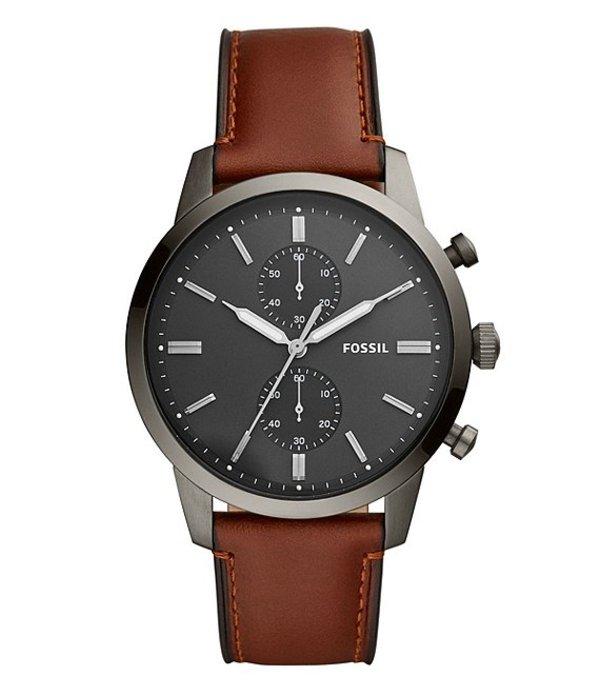 フォッシル メンズ 腕時計 アクセサリー Men's Townsman Chronograph Amber Leather Watch Brown