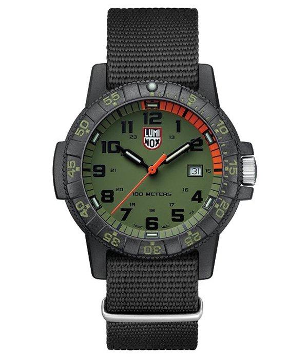 ルミノックス メンズ 腕時計 アクセサリー Olive Green Leatherback Sea Turtle Watch Black