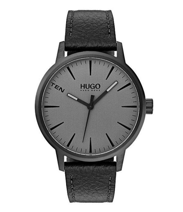 ヒューゴボス メンズ 腕時計 アクセサリー #Stand Black Leather Watch Black