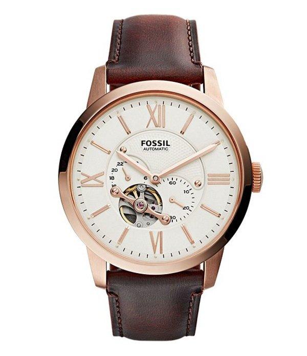 フォッシル メンズ 腕時計 アクセサリー Townsman Automatic Dark Brown Leather Watch Brown