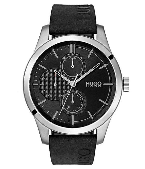 ヒューゴボス メンズ 腕時計 アクセサリー #DISCOVER Black Leather Watch Black