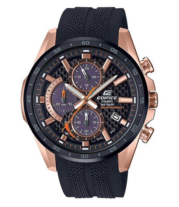 ジーショック メンズ 腕時計 アクセサリー Rose Gold Edifice Solar Powered Multifunction Watch Black