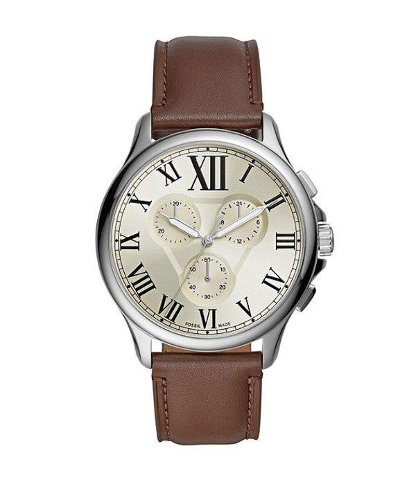 フォッシル メンズ 腕時計 アクセサリー Monty Chronograph Brown Leather Watch Brown