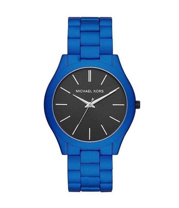 マイケルコース メンズ 腕時計 アクセサリー Men's Slim Runway Three-Hand Blue Coated Stainless Steel Watch Blue