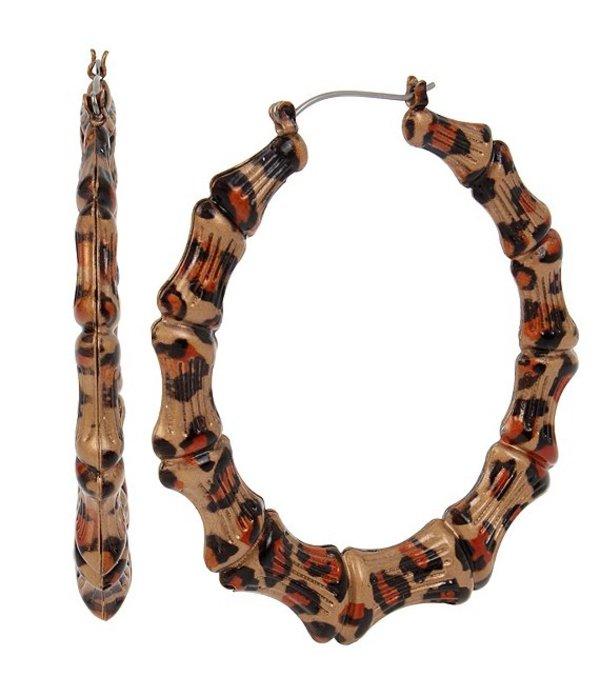 ベッツィジョンソン レディース ピアス・イヤリング アクセサリー Leopard Bamboo Hoop Earrings Leopard