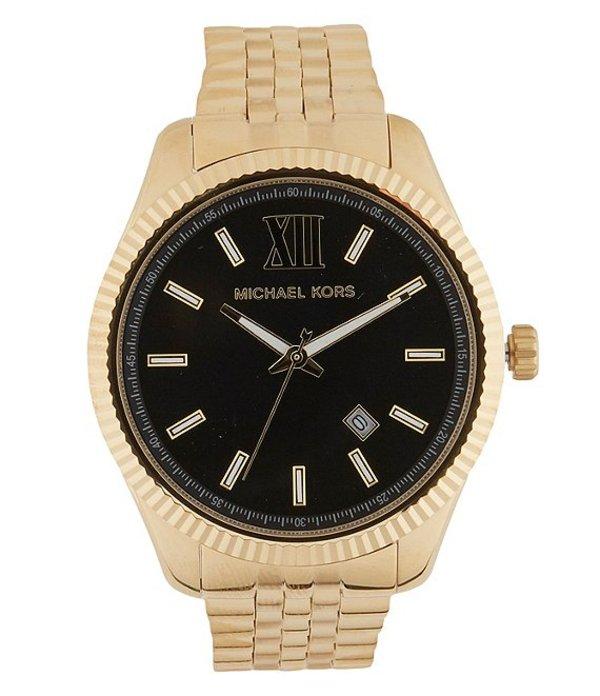 マイケルコース メンズ 腕時計 アクセサリー Men's Lexington Three-Hand Gold-Tone Stainless Steel Watch Gold