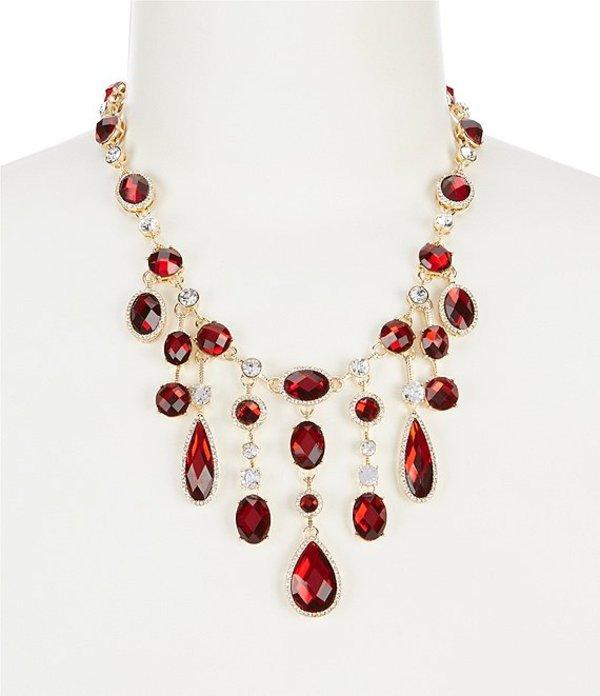 アンクライン レディース ネックレス・チョーカー アクセサリー Red and Crystal Gold Tone Frontal Necklace Red