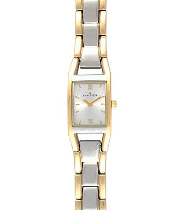 アンクライン レディース ブレスレット・バングル・アンクレット アクセサリー Rectangular Two-Tone 3-Hand Bracelet Watch Silver/Gold