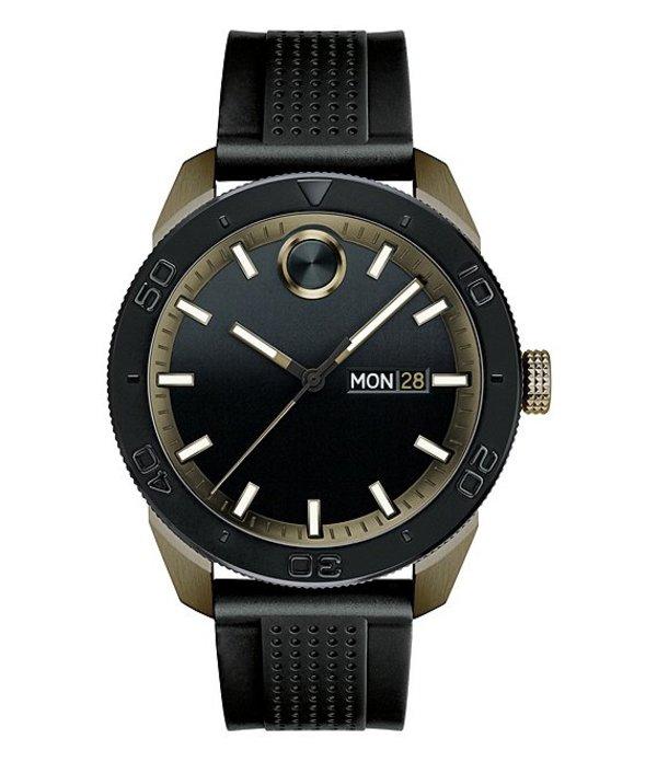 モバード メンズ 腕時計 アクセサリー Analog Day & Date Silicone-Strap Sport Watch Black