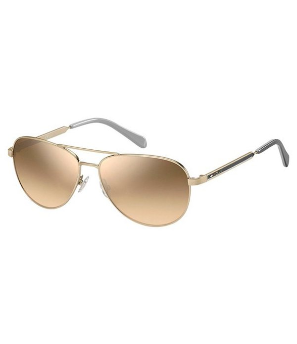 フォッシル メンズ サングラス・アイウェア アクセサリー Mirrored Aviator Sunglasses Gold