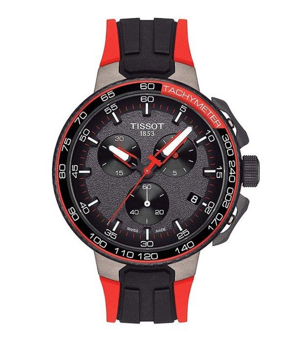 ティソット メンズ 腕時計 アクセサリー T-Race Vuelta Chronograph & Date Rubber-Strap Watch Black
