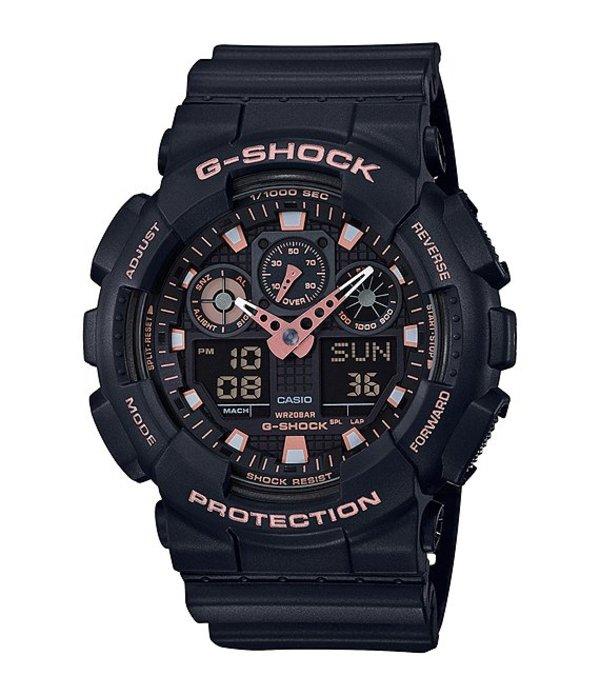 ジーショック メンズ 腕時計 アクセサリー Ana-Digi Black Resin Watch w/Gold Accent Dial black
