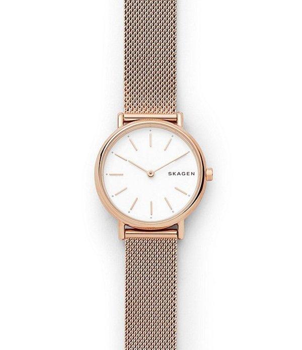 スカーゲン レディース 腕時計 アクセサリー Signature Slim Rose Gold-Tone Steel-Mesh Watch Rose Gold