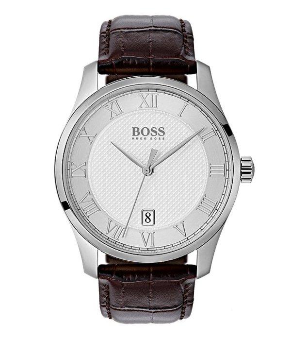 ヒューゴボス メンズ 腕時計 アクセサリー BOSS Hugo Boss THE BOSS WATCHES MASTER COLLECTION Leather Watch Silver/Brown
